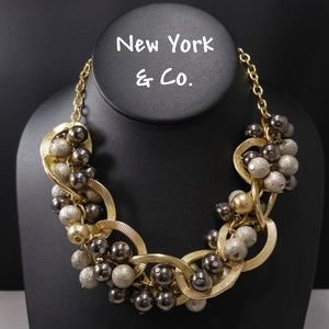 New York & Co Gold Loops & Silver Beads Necklace